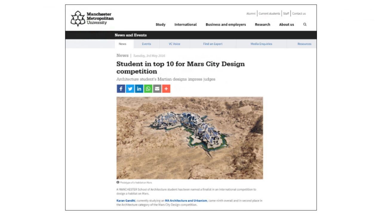 Manchester school of Architecture student designs a habitat on Mars