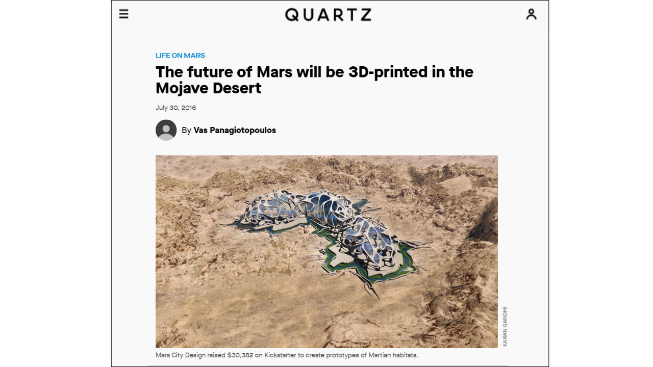 Quartz publishes a glimpse of the 3D Printed Martian colonies