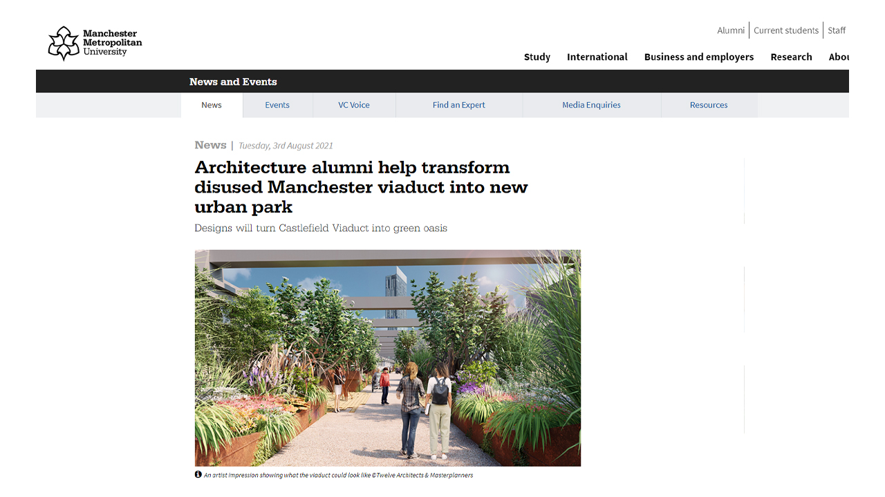 Architecture alumni helped transform disused Manchester's Castlefield viaduct into new Urban park