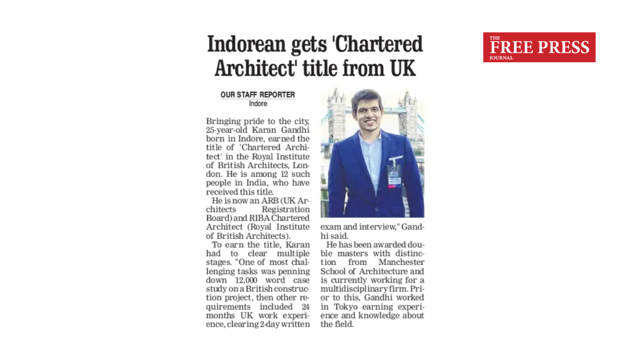 Indorean gets Chartered Architect title from UK